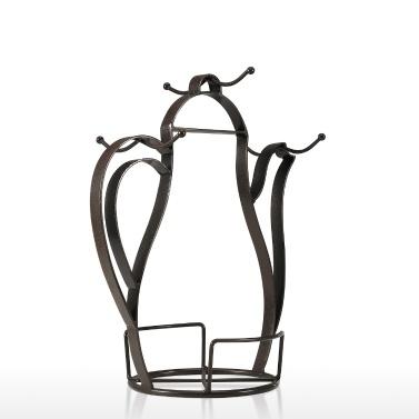 Держатель для кофейной кружки в форме чайника, столешница или кладовая, винтажная металлическая проволочная подставка для дерева для кофейных стаканов и чашек