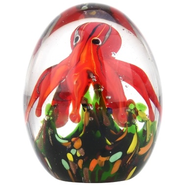 Tooarts Red Octopus Sculpture Handmade Glass Ornament Animal Figurine Tabletop Decoration Gift Craft Decoration