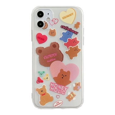 Soft Thin TPU Cartoon Phonecase Clear with Little Cutie Bear Design Full-Body Protective Anti-Slip Cell Phone Cover Back Cover Bumper Shockproof Cover For iphone