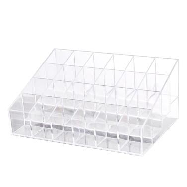 Small Size 24 Grids Transparents Acrylic Lipstick Storage Case Desktop Jewelry Storage Case