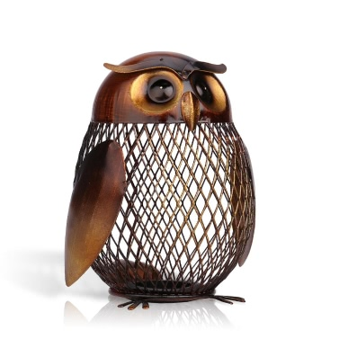 Tooarts Owl Shaped Metal Coin Box