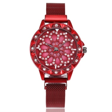 Modischen Kristall Frauen sehen Blumen Zifferblatt Maganet Uhr Armbanduhr mit Webart gestrickt Armband
