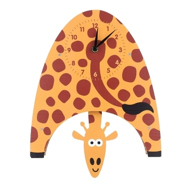 Tooarts Cartoon Animal Clock, Swinging Giraffe Clock, MDF Wooden Wall Clock