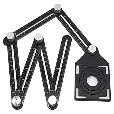 Multi Angle Measuring Ruler 6 Sides Hole Positioning Adjustable Tracing Template Tool for Flooring Tile Molding Construction Builders Woodworking DIY