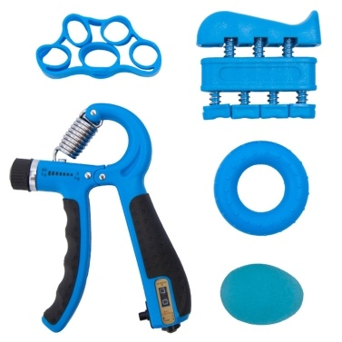 Hand Grip Kit 5-in-1 Strength Trainer Adjustable Resistance Finger Exerciser Stretcher Band Grip Rings Ball Athletes Climbers Workout Physical Therapy Equipment Blue