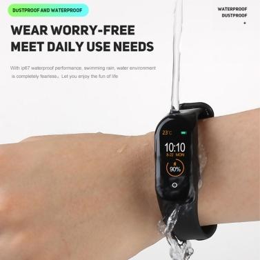 M4 Intelligente Uhr Farbdisplay Sport BT Armbanduhr Wasserdicht Blutdruck Herzfrequenzmessung Fitness Uhr