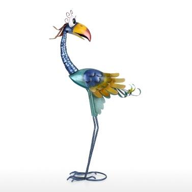 Tooarts 31,2-Zoll-Cartoon-Tukan-Skulptur, Eisen-Vogel-Skulptur, Gartendekoration, stehende Tierverzierung, Grafik für Hinterhof-Patio-Rasen-Grün