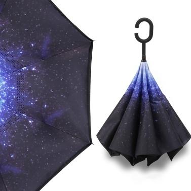 Windförmiger Reverse-Taschenschirm mit C-Form