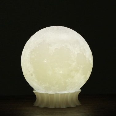 Tooarts 3D Printed Moon Lamp 3D Printing Lamp Modern Sculpture Home Decoration Ornament Artwork Modern Art Moon Lunar Decor Lighting Gift US Plug 100-240V 50/60Hz