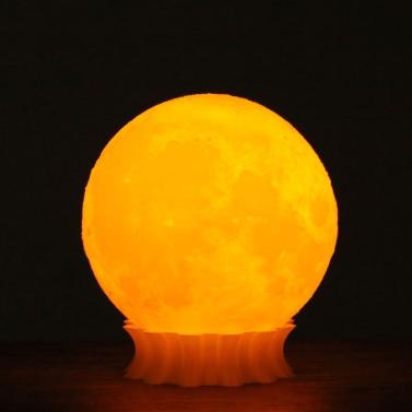 Tooarts 3D Printed Moon Lamp 3D Printing Lamp Modern Sculpture Home Decoration Ornament Artwork Modern Art Moon Lunar Decor Lighting Gift US Plug 100-240V 50/60Hz