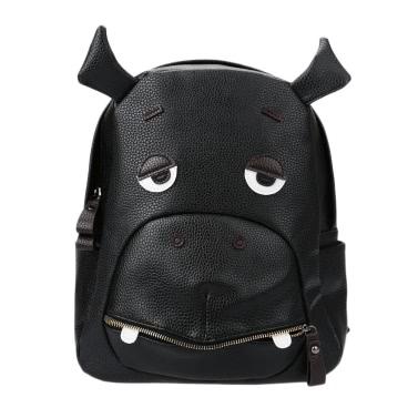 Mode Frauen Rucksack tierischen Muster PU Leder Reißverschluss Schließung Schule Reisen Schultertaschen Black1/Black2