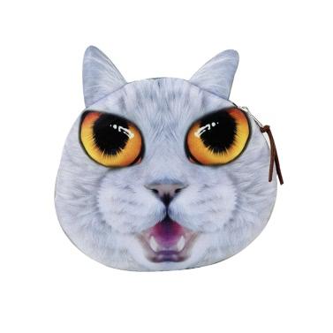 Cute Fashion Women Coin Purse Cat Animal Head Print Zipper Closure Mini Wallet Small Clutch Bag