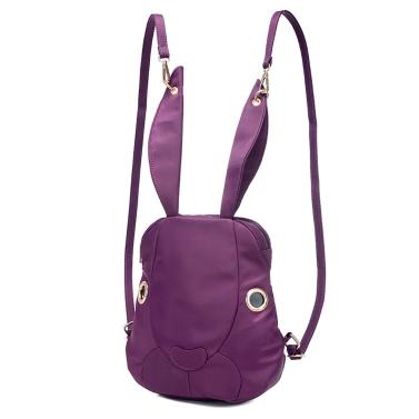 Neue nette Frauen Nylon-Rucksack Wasserdichtes Karikatur-Kaninchen-Taschen Zipper beiläufige kühle Umhängetasche