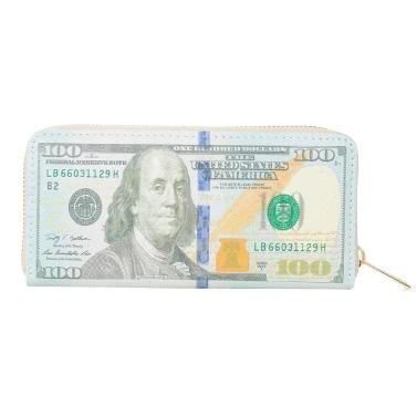Neue Art und Weise Frauen-Mädchen-Mappen-Dollar Euro Bill-Druck PU-Leder-lange Geldbeutel-Karten-Bargeld-Halter ändern Wallet 1 # / 2 # / 3 #
