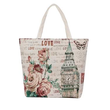 Neue Retro-Frauen-Blumensegeltuch-Handtasche-Fronten-Druck-Reißverschluss-Top-Einkaufsreise Umhängetasche Tasche