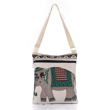 Retro Frauen Leinwand Umhängetasche Tasche Gestickte Elephant Print Zipper Einkaufen Reisen Umhängetasche