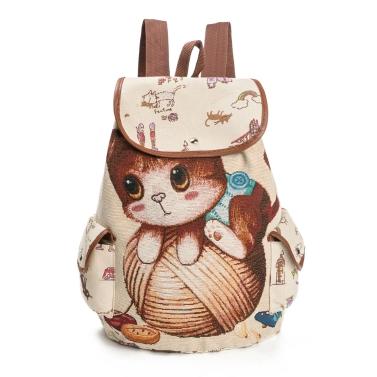 Frauen Leinwand Rucksack Cartoon Katze Muster Schultasche Taschen Casual Vintage Tasche Reise Ruchsack