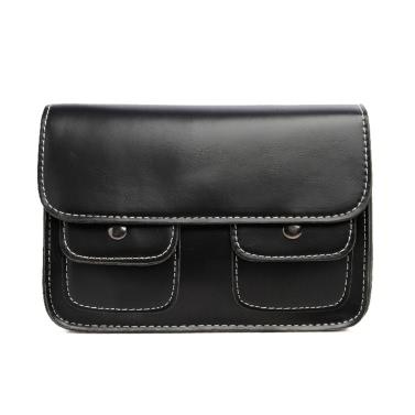 Neue Fashion Damen Schultertasche PU Leder Reißverschluss Snap Verschluss Doppel Taschen Vintage Flap Crossbody Tasche