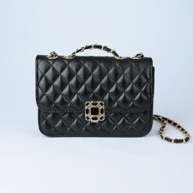 Women Small Shoulder Bag Quilted Chain PU Leather Flap Front Casual Handbag Crossbody Bag Black/White/Rose