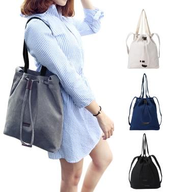 Women Canvas Bucket Bag Drawstring Casual Vintage Shoulder Bag Handbag  Crossbody Bag (30cm