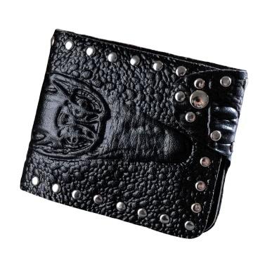 Men Wallet PU Leather Crocodile Emboss Rivet Snap Button ID Credit Card Holder Case Cash Clip Black/Coffee/Brown