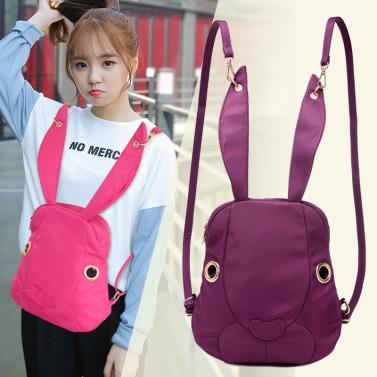 New Cute Women Nylon Backpack Waterproof Cartoon Rabbit Pockets Zipper Casual Cool Shoulder Bag
