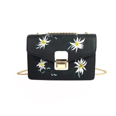 Neuer Frauen-Beutel-Kurier-Beutel-Ketten-Schulter-Beutel PU-Leder-Mädchen-Blumen Kleine Umhängetasche Tasche Schwarz / Weiß