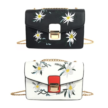 New Women Bag Messenger Bag Chain Shoulder Bag PU Leather Girls Flower Small Crossbody Bag Black/White