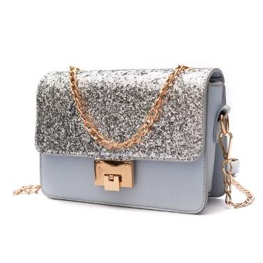 Women Sequined Shoulder Bag PU Leather Flap Front Chain Handle Strap Casual Mini Handbag Crossbody Bag