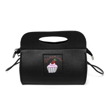Cute Women Shoulder Bag PU Leather Cake Print Pattern Casual Small Party Tote Handbag Black/White