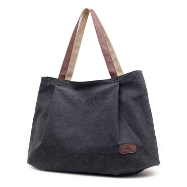 Women Canvas Handbag Large Capacity Tote Bag Solid Color Messenger Crossbody Shoulder Bag