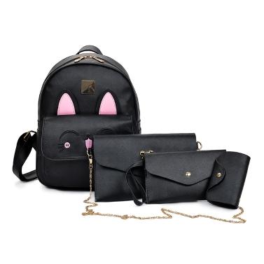 New Women Girls Backpack PU Leather Rabbit Ear Casual Student Schoolbag 4 Piece Set Black/Beige/Pink