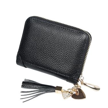 Frauen Echtes Leder Kartenhalter Mini Wallet Quaste Anhänger Zip Geldbörse Kreditkartenetui