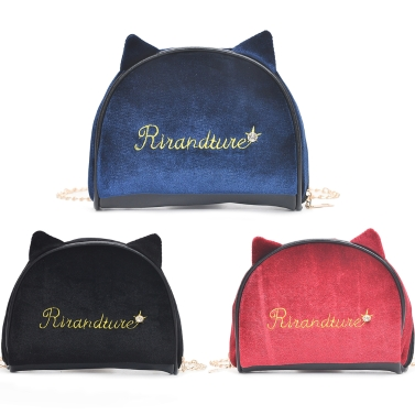 New Fashion Women Letter Embroidered Chain Bag Ear Detail Girls Shoulder Crossbody Bag Black/Red/Blue