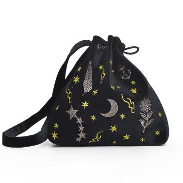 Frauen Velvet Bucket Bag Stickerei Drawstring Beutel Cute Shoulder Crossbody Taschen Burgund / Grau / Schwarz