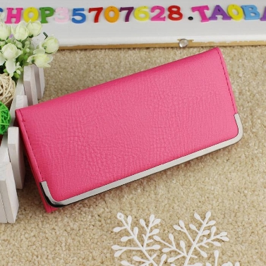 New Fashion Women Lady Clutch Purse PU Leather Fold-Over Front Coin Purse Long Wallet
