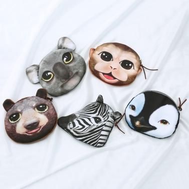 Cute Fashion Women Coin Purse Animal Print Mini Wallet Zipper Closure Small Clutch Bag