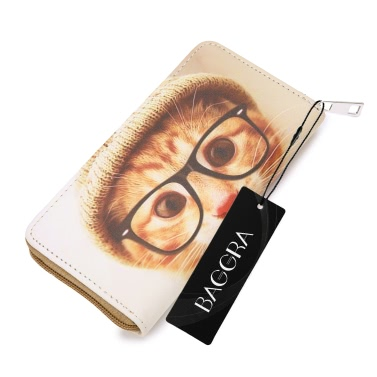 Fashion Women Long Zipper Purse PU Leather Letter Cat Dog Printed Wallet Coin Phone Card Holder Clutch Bag