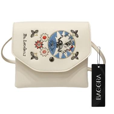 New Fashion Women Embroidery Crossybody Bag PU Leather Flap Top Shoulder Handbag Black/Beige