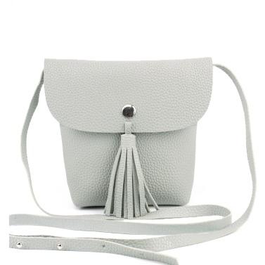 Schulter neue Art und Weise Frauen-Beutel PU-Leathe Flap Quaste Solid Color Unlined Press Stud Lässige Umhängetasche Tasche