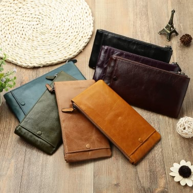 Fashion Men Wallet Money Clip Leather Long Clutch Business Credit Card Cash Holder Case Purse