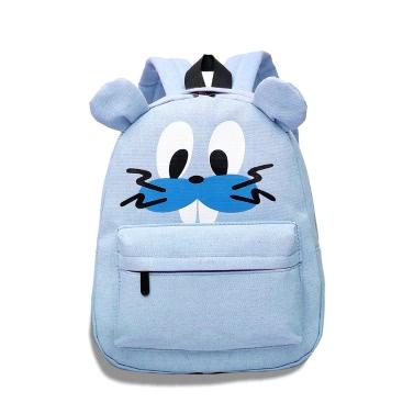 New Fashion Women Backpack Cute Character Print Zipper Pocket Canvas Bag Students Backpack
