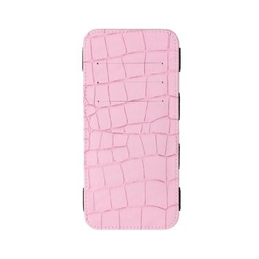 Women Long Wallet Crocodile Pattern Bi-fold Elastic Band PU Purse Clutch Bag Cash Card Holder Burgundy/Blue/Pink