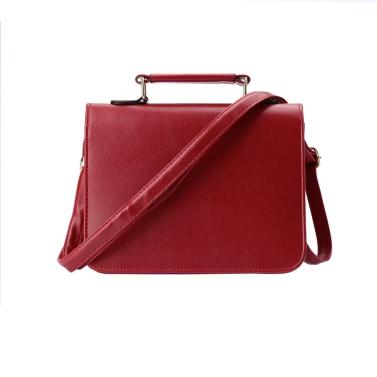 Frauen kleine Umhängetasche PU Leder Nieten Runde Panel Klappe vorne Schultergurt lässige Handtasche Crossbody Tasche