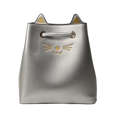 Art und Weise Frauen große Kapazität PU-Schulter-Beutel-nette Katze-Muster-Handtaschen-Kurier Crossbody Tote-Wannen-Beutel-Schwarzes / Silber