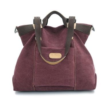 New Fashion Women Shoulder Bag Canvas Solid PU Trim Zipper Fastening Casual Crossbody Handbag