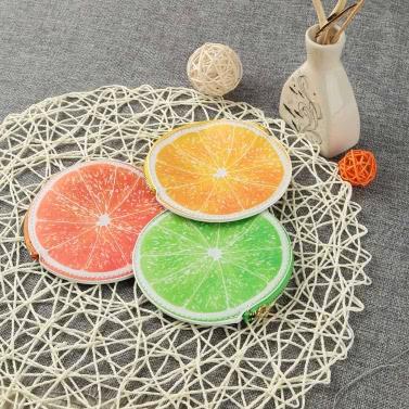 Fashion Women Coin Purse Orange Pattern Print PU Leather Candy Color Wallet Orange/Yellow/Green