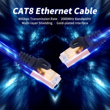 CAT8 Network Cable 40Gbps 2000MHz Ethernet Cable with Multi-layer Shielding 26AWG Pure Copper Core Gold-plated Interface 20M