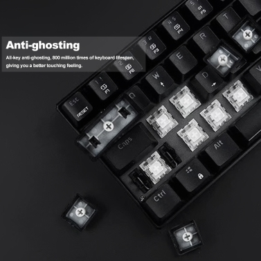 MOTOSPEED CK61 RGB Mechanical Gaming Keyboard Kailh BOX Blue Switches Keyboard 61 Keys Anti-ghosting with Backlight for Gaming Black