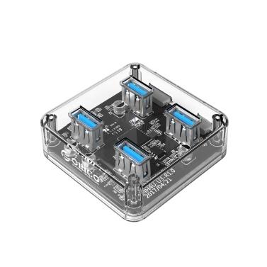 ORICO MH4U-U3-03-CR 4 Anschlüsse USB3.0 Transparenter Desktop-Hub Blaue LED Mit Gummi-Anti-Rutsch-Pad Reserviertes externes Netzteil 30 cm
